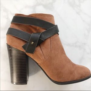 Express brown faux suede wrap strap boots